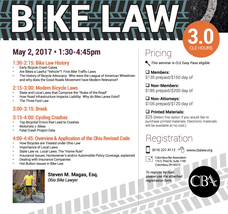 BIKE LAW 101 - CLE for Lawyers 5-2-17